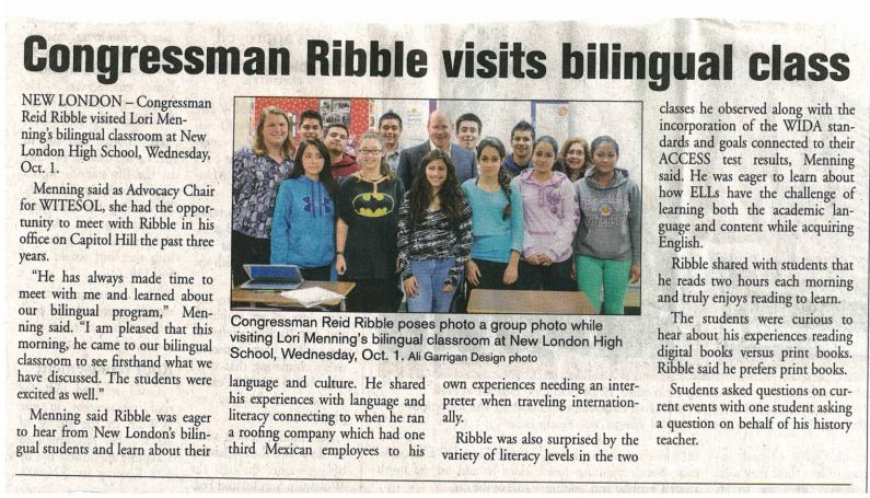 Congressman Ribble Visits Bilingual Class